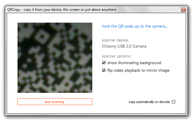 QRCopy QR code scanner - screenshot